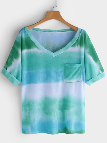 Yoins Green Printed Stripe V-neck Short Sleeves T-shirts