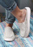 Slip On Flat Canvas Sneakers - Light Grey
