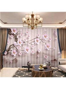 3D Breathable Chiffon Decorative Sheer Curtains with Delicate Carved Flowers Pattern