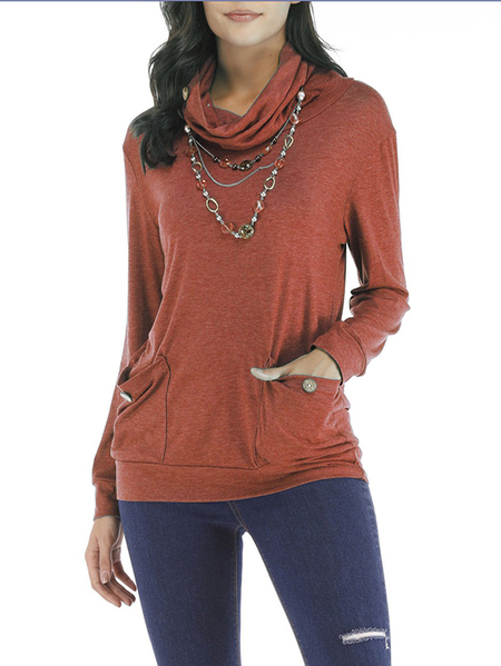 Yoins Red Drape Sagging Long Sleeves Blouses With Patch Pockets