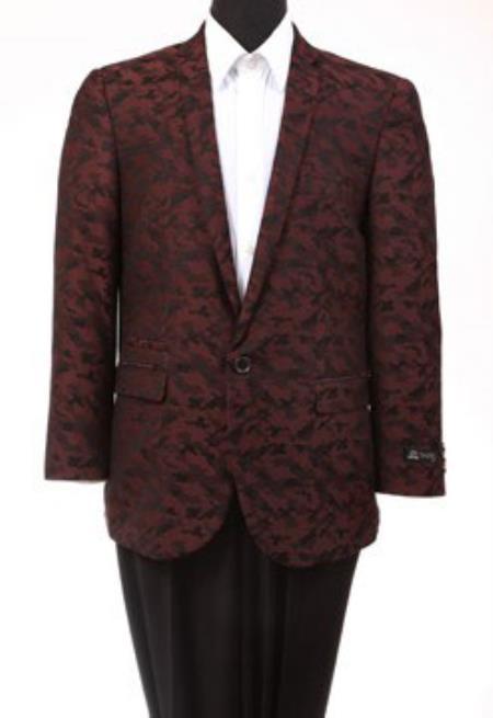 Tazio Abstract Design Slim Fit Fashion Jacket Burgundy blazer