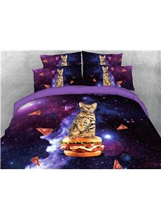 Cat Riding Hamburger in Space Galaxy Printed 4-Piece 3D Bedding Sets/Duvet Covers