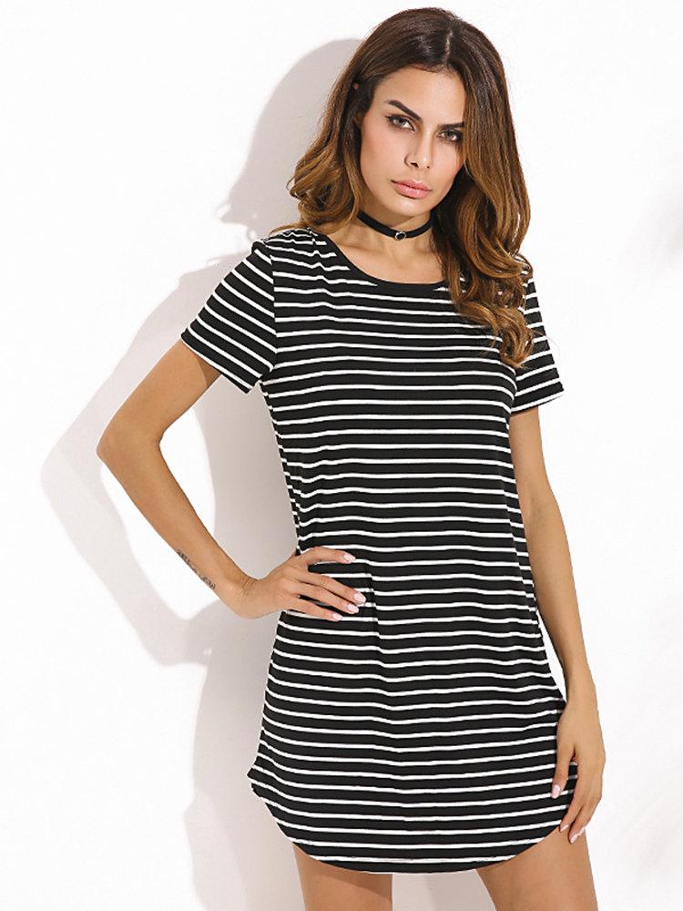 Women Stripe Short Sleeve Summer Mini Dress