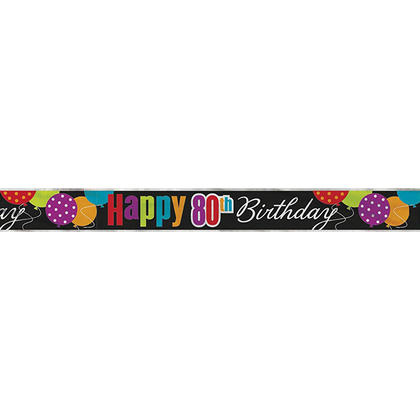 Birthday Cheer Foil Happy 80th Birthday Party Decor Banner, 12ft For Birthday Party