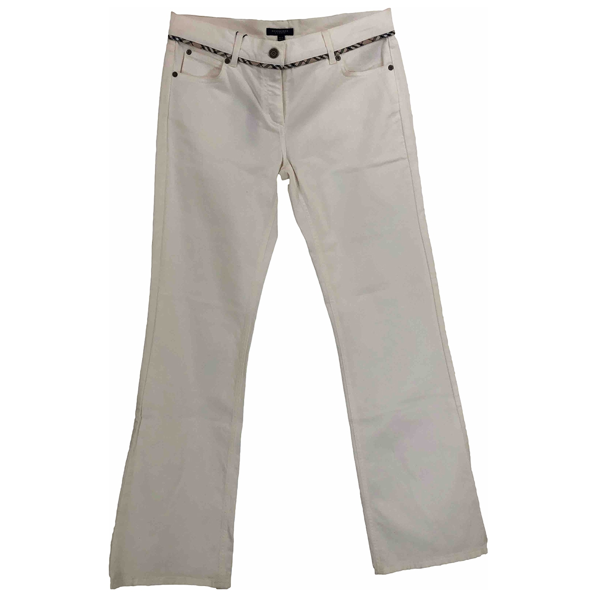 Burberry \N White Cotton Trousers for Women 14 UK