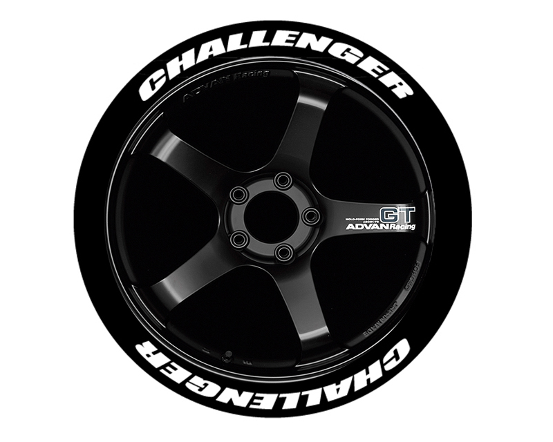 Tire Stickers CHALL-1921-1-4-W Permanent Raised Rubber Lettering 'Challenger' - 8 Of Each - 19