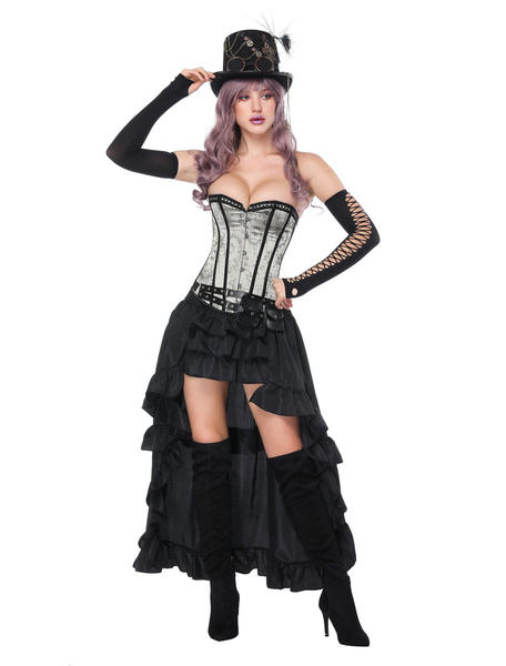 Milanoo Gothic Costume Halloween Women Corset Fanny Pack Rufffles Asymmetrical Skirt 3 Piece