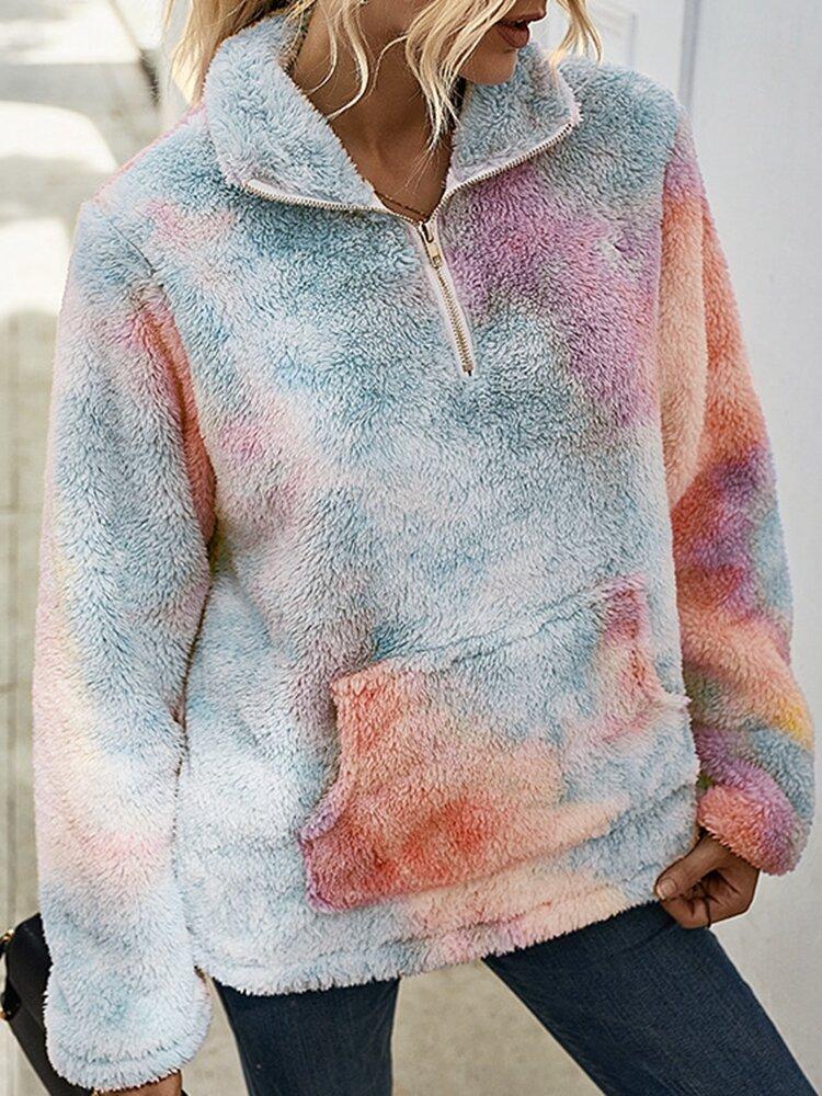 Tie-dyed Print Plush Long Sleeve Stand Collar Sweatshirt For Women