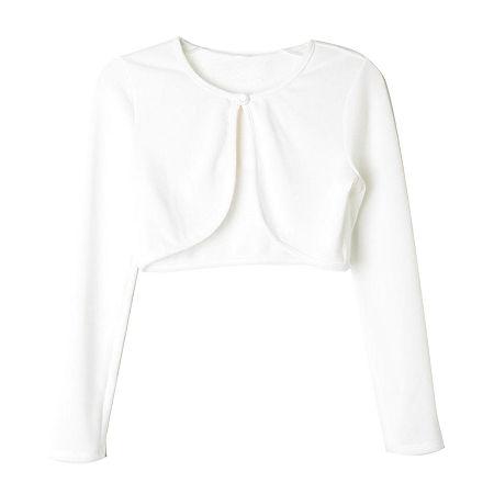 Lilt Little & Big Girls Round Neck Long Sleeve Button Cardigan, Large (14) , White