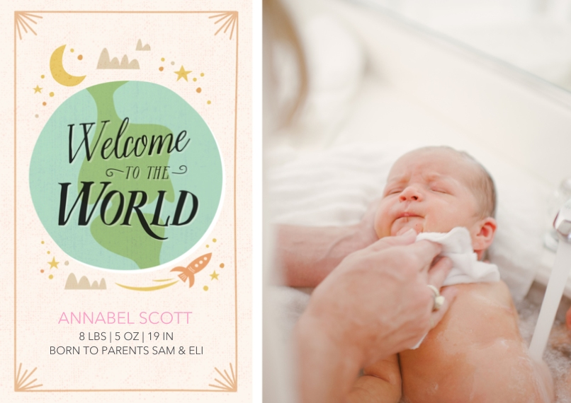 Newborn Flat Glossy Photo Paper Cards with Envelopes, 5x7, Card & Stationery -Welcome to the World Ivory