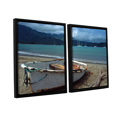 Brushstone Waiting To Row In Hanalei Bay 2-pc. Floater Framed Canvas Wall Art, One Size , Blue