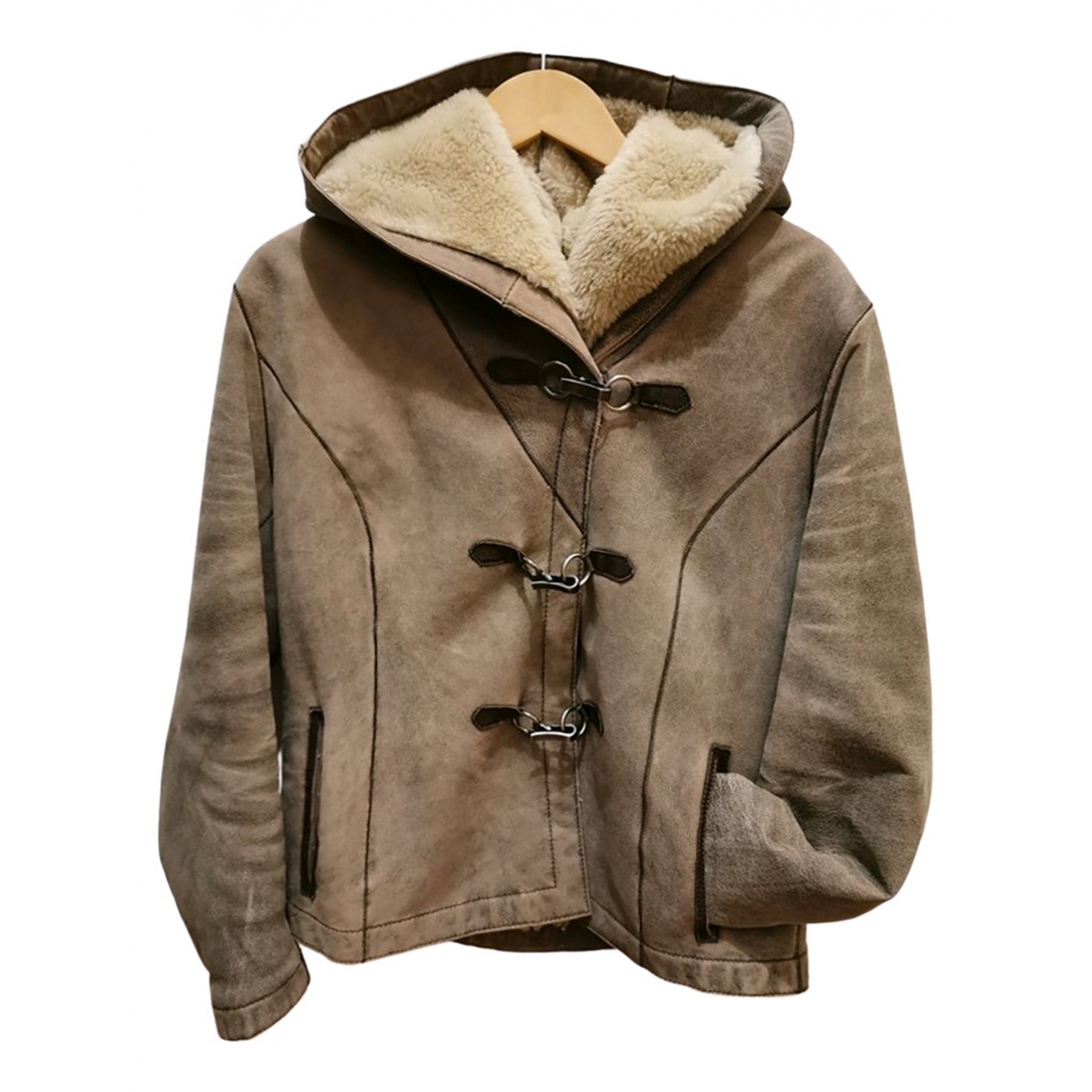 Non Signé / Unsigned \N Beige Leather coat for Women 38 FR