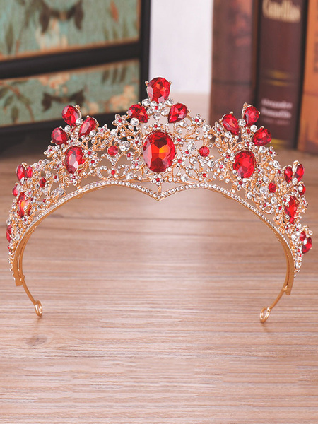 Milanoo Red Wedding Tiara Crown Rhinestones Beaded Royal Bridal Headpieces