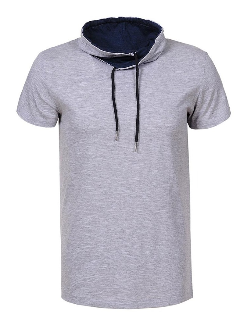 Ericdress Plain Hooded Casual Slim Short Sleeve Men's T-shirt