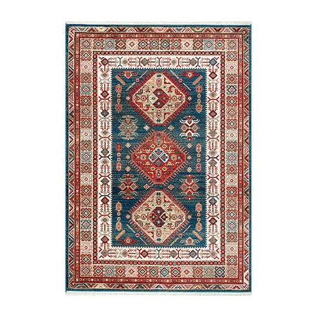nuLoom Qiana Emblem Fringe Rectangular Rug, One Size , Blue