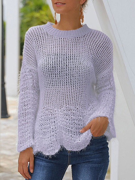 Milanoo Women Hollow Sexy Sweaters Knitwear Irregular Hem See Through Long Sleeve Sweater