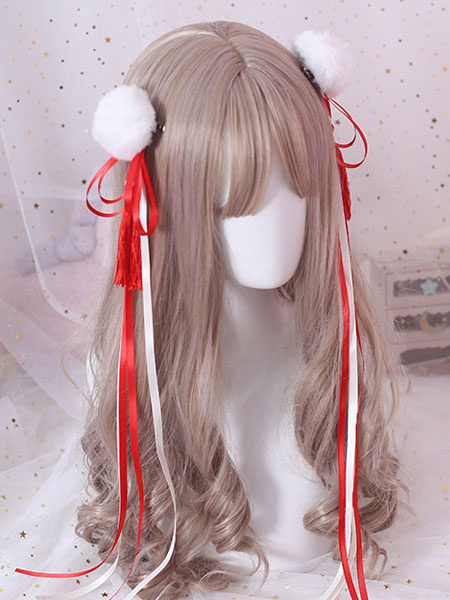 Milanoo Chinese Style Lolita Hair Pin Pom Pom Tassel Bow Red Lolita Hair Accessory