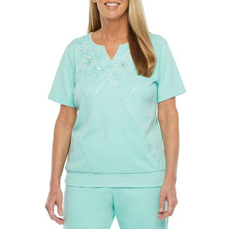 Alfred Dunner Captiva-Womens Split Crew Neck Short Sleeve T-Shirt, Small , Green