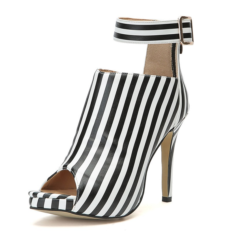 Ericdress Stripe Peep Toe Stiletto Heel Women's Ankle Boots