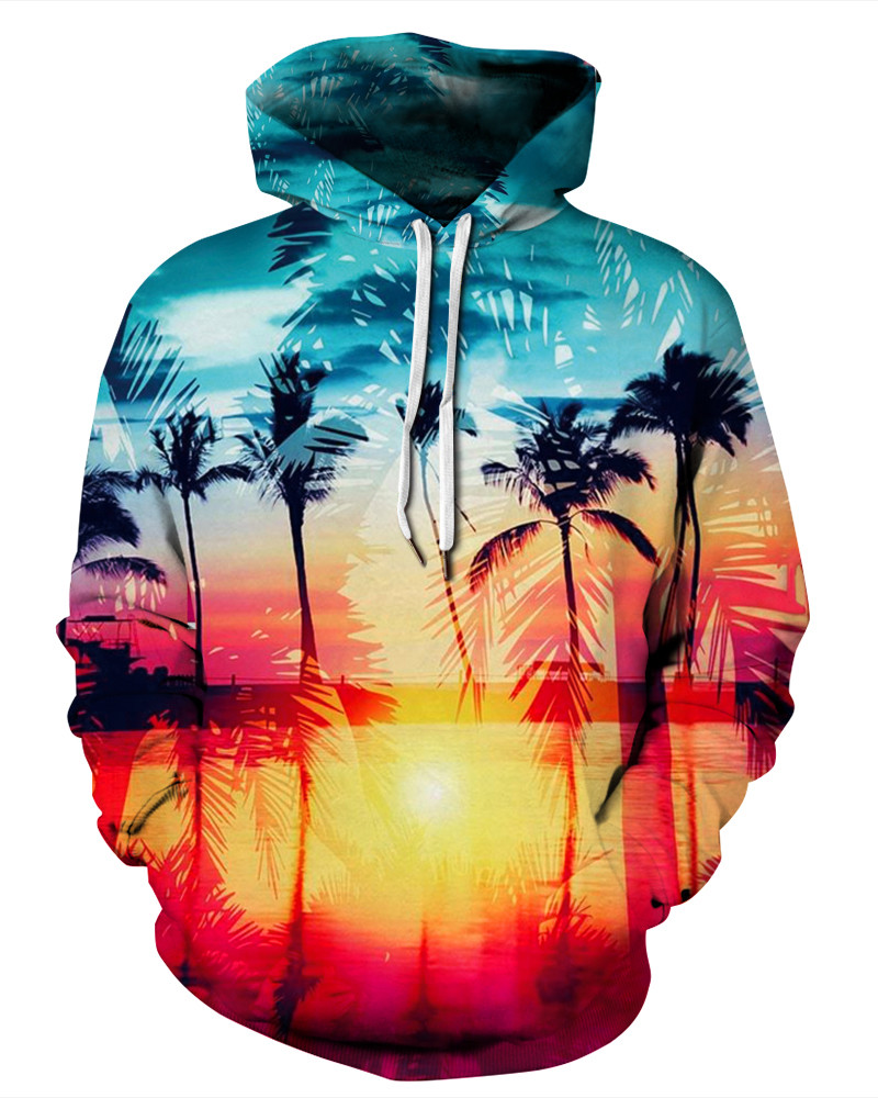 Loose Model Polyester Workout Lightweight 3D Painted Hoodie