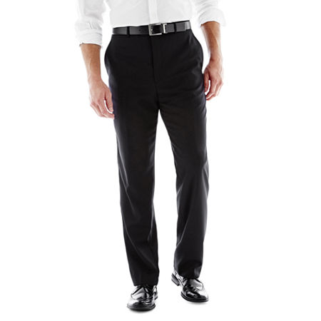 Stafford Executive Super 100 Wool Flat-Front Suit Pants - Classic, 32 30, Black