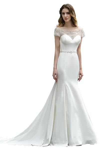 Milanoo Wedding Dress Short Sleeves Illusion Neck Beaded Mermaid Bridal Gowns