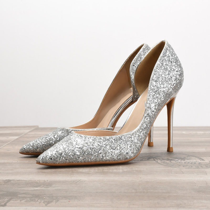 Ericdress Stiletto Heel Sequin Pointed Toe 10cm Thin Shoes