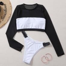 Two Tone Contrast Mesh Bikini Swimsuit