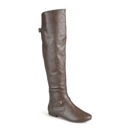 Journee Collection Womens Loft Wide Calf Knee-High Riding Boots, 8 Medium, Brown