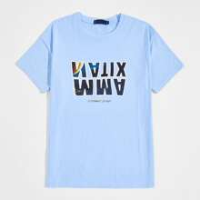 Guys Letter Graphic Blue Tee