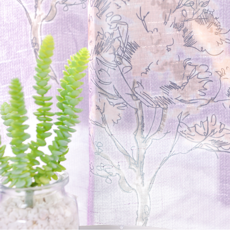 Floral on Linen Natural Style Custom Printed Sheer Curtain