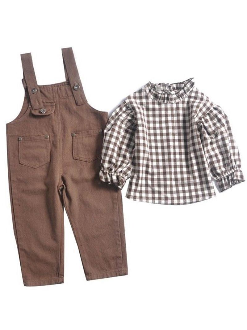 Ericdress Plain Plaid Patchwork Girl's Cotton Outfits Shirt Pants