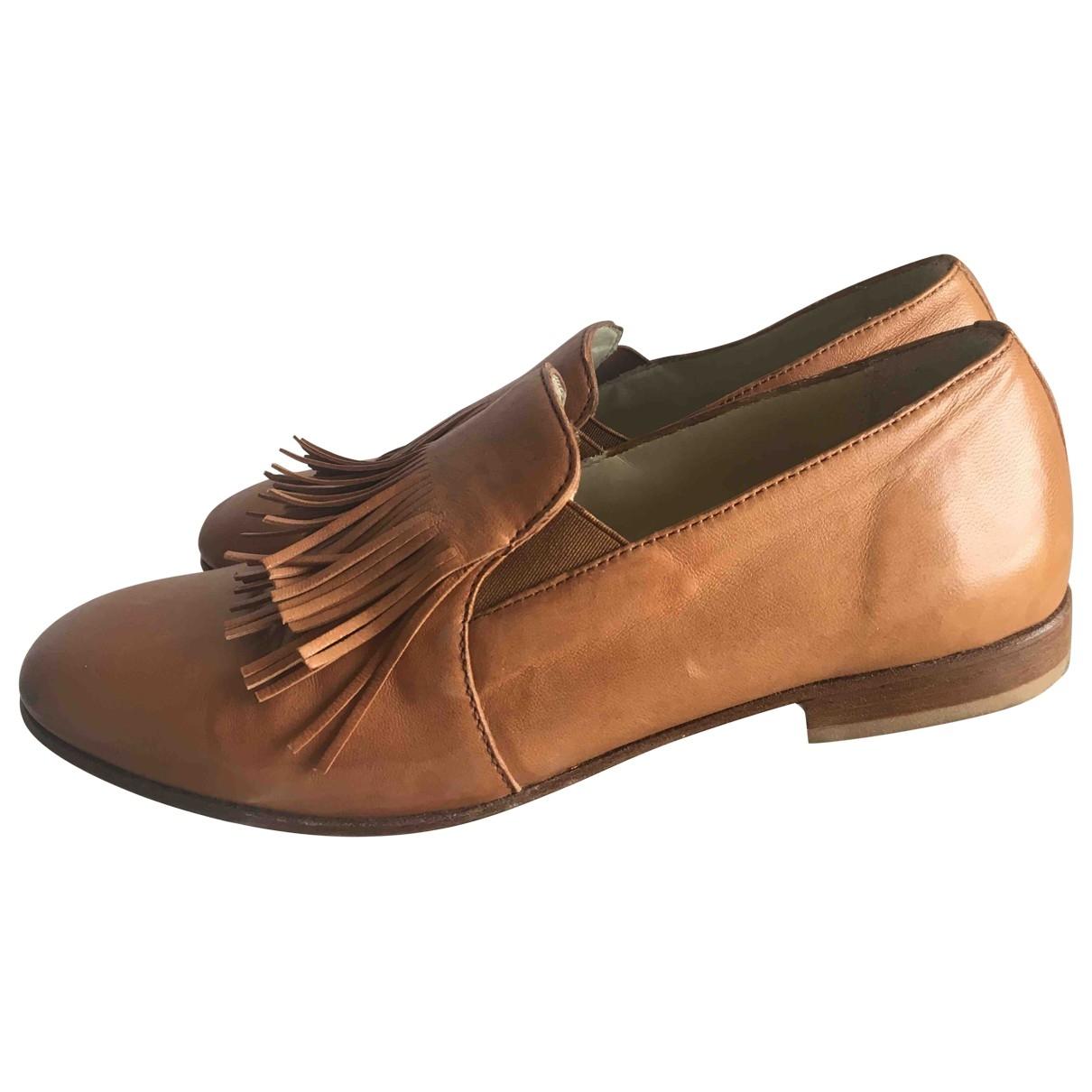Non Signé / Unsigned \N Camel Leather Espadrilles for Women 37.5 EU