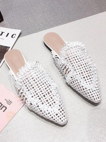 Milanoo Womens Mules Woven PU Leather Khaki Pointed Toe Beach Flat Shoes For Summer
