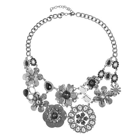 Mixit 17 Inch Cable Flower Collar Necklace, One Size , Multiple Colors
