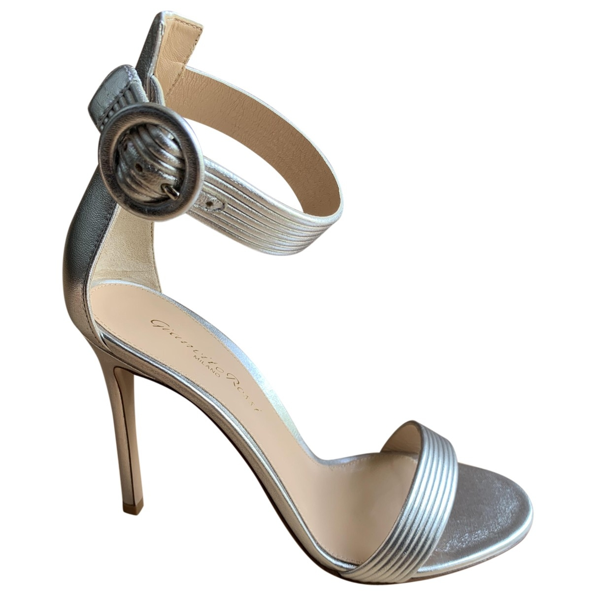 Gianvito Rossi Portofino Silver Leather Sandals for Women 37 EU