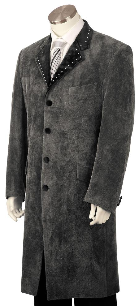 4 Button Grey Zoot Suit 45 Inch  Long Jacket Mens