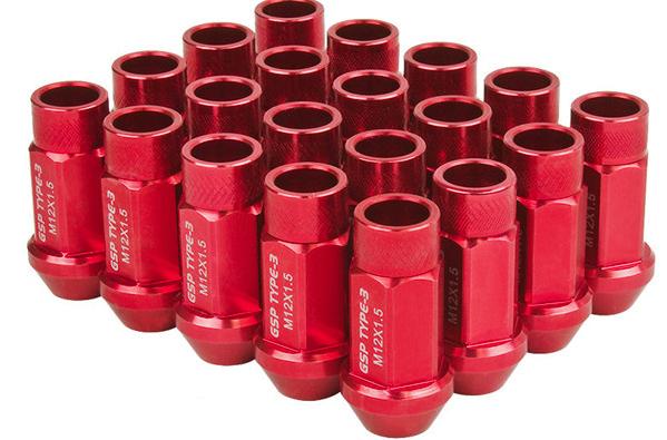 Godspeed Project LN-T3-15-RED Godspeed Type 3 50mm Lug Nuts 20 pcs. Set M12 X 1.5 Red Universal