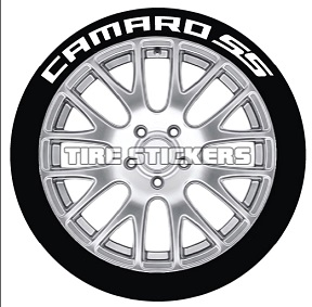 Tire Stickers CAMROSS-1921-1-4-W Permanent Raised Rubber Lettering 'Camaro SS' Logo - 4 of each -  19