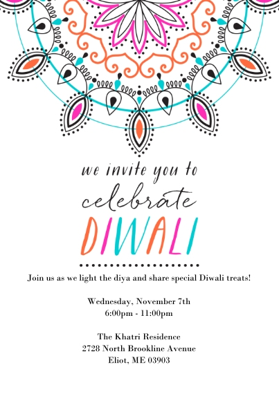 Diwali Cards 5x7 Cards, Premium Cardstock 120lb with Rounded Corners, Card & Stationery -Mandala Diwali Invitation