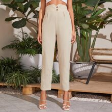 Buttoned Front Notched Waistband Pants