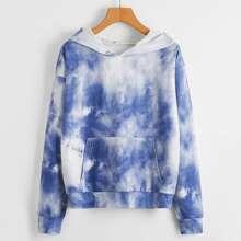 Tie Dye Print Hooded Sweatshirt