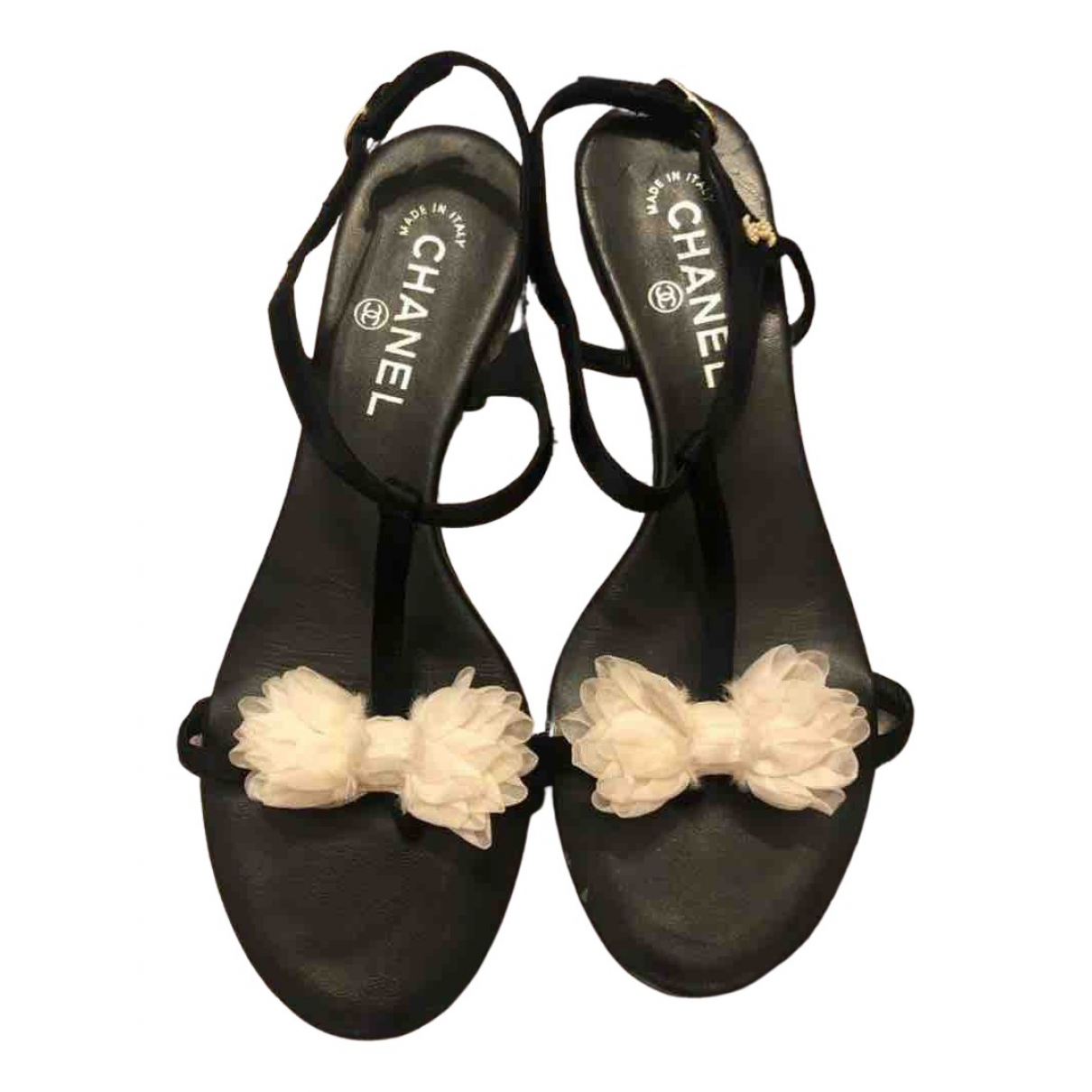 Chanel N Black Leather Sandals for Women 39 EU