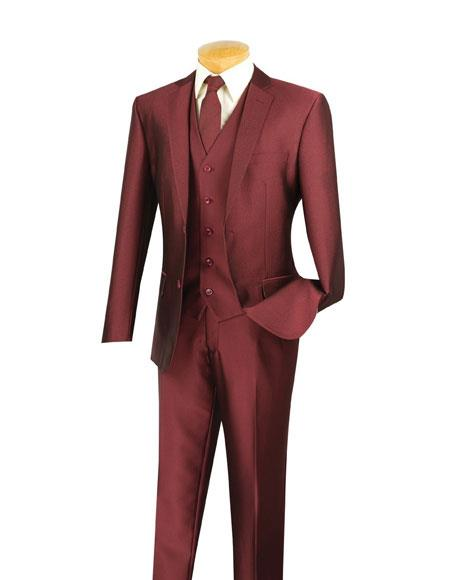 Mens 2 Buttons Single Breasted Notch Lapel Slim Fit 3 Piece Wine Suit