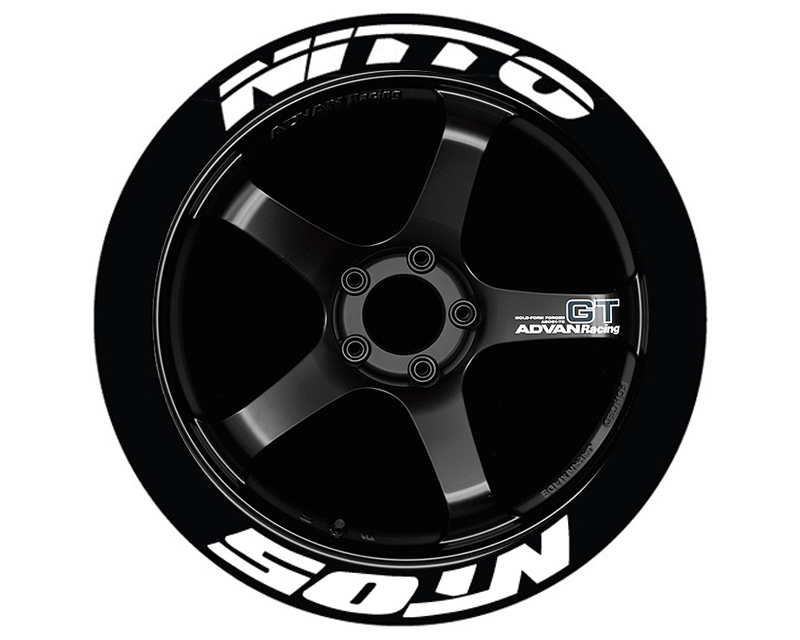 Tire Stickers NIT05-1416-15-4-B Permanent Raised Rubber Lettering 'Nitto NT05' - 4 Of Each - 14