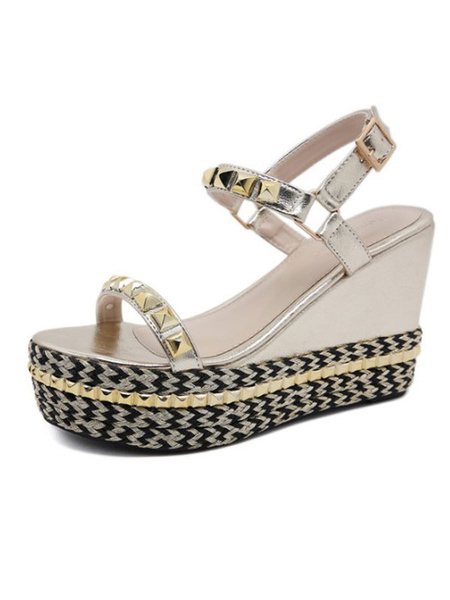 Milanoo Wedge Sandals For Woman Modern PU Leather Square Toe Breathable Womens Sandals