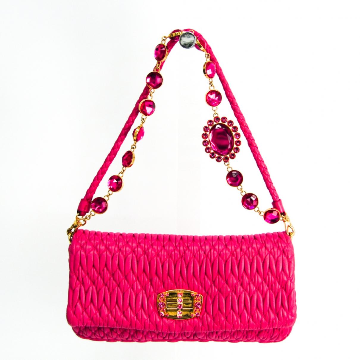 Miu Miu Miu Crystal Pink Leather handbag for Women \N