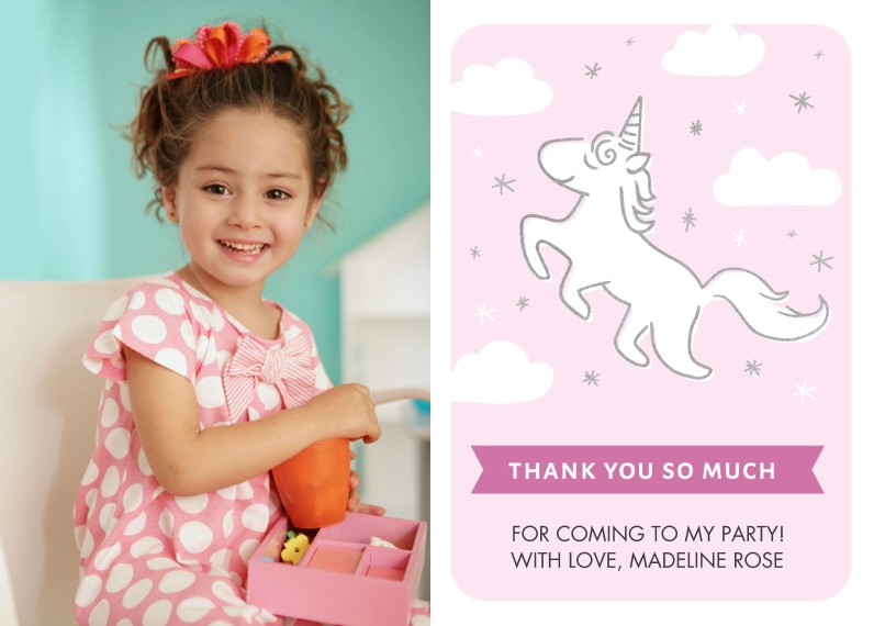 Kids Thank You Cards 5x7 Cards, Premium Cardstock 120lb with Rounded Corners, Card & Stationery -Thank You Magical Unicorn