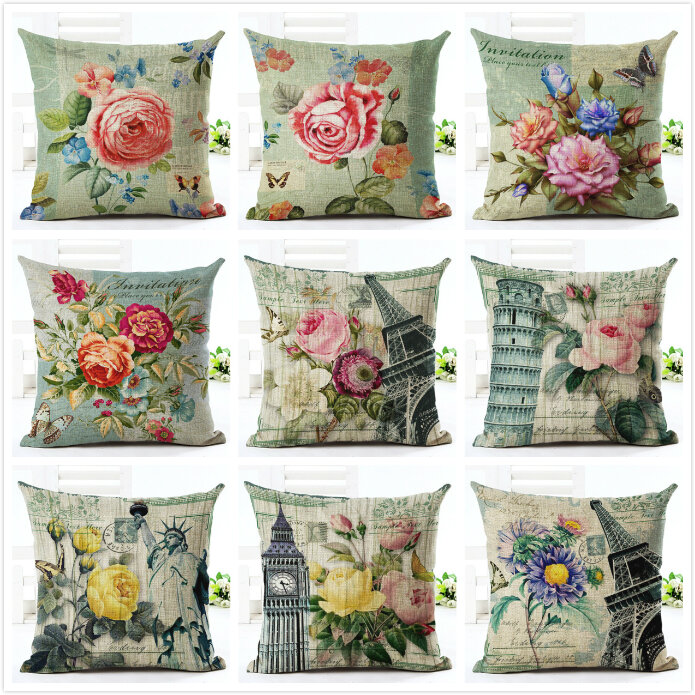 Flower Eiffel Tower Style Flower Pillow Case Cushion Cover