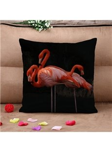 Unique Pink Flamingo Print Throw Pillow Case
